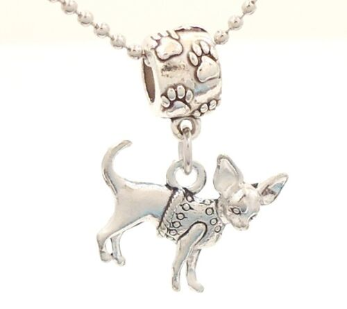 CLEARANCE Chihuahua Dog Breed Charm on Pawprint Slider for Bracelet OR Necklace