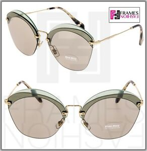 1132a8d34 MIU MIU Overlapping Game 53S Light Green Gold Mirrored Round ...