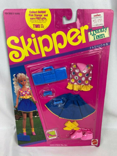 Vintage 1990 Mattel Barbie Skipper Trendy Teen Fashions Skirt & Top - New