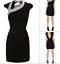 Karen-Millen-Reino-Unido-10-Negro-Plata-Escote-Asimetrico-Espalda-recorte-Coctel-Vestido miniatura 4
