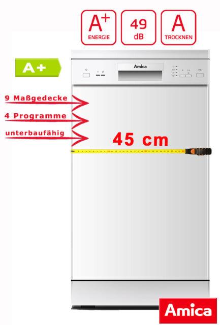 Amica 45cm Geschirrspüler unterbaufähig Spülmaschine Weiß A+ GSP 14742 W