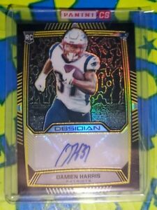 2019 Obsidian Damien Harris Yellow Auto /25 RC Obsidian Redemption Sealed  Pats