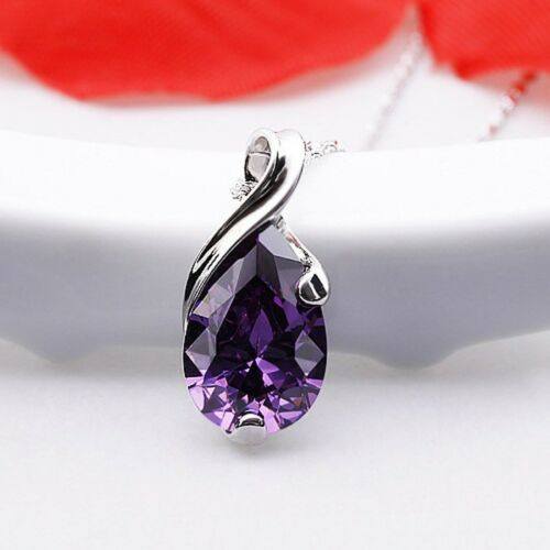 Handmade Angel/'s Tear Mystical Purple Amethyst Gemstone Silver Necklace Pendants
