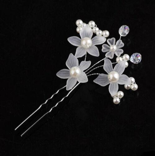 Wholesale Wedding Bridal Pearl Crystal Flower Crystal Hair Pins Clip Bridesmaid