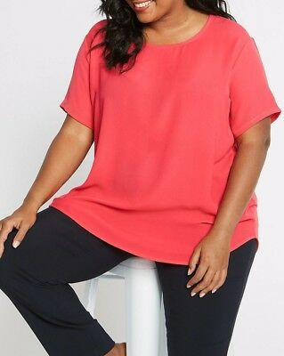 Ex Marks and Spencer Curve Plus Size Pink Round Neck Tunic Top Size 18-28 X3.4