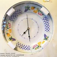 Ceramic Plate With Painted Fruits Wall Clock Battery Powered, 10.5 -