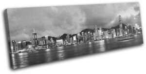 Hong-Kong-Skyline-Night-Asia-Asian-City-SINGLE-CANVAS-WALL-ART-Picture-Print