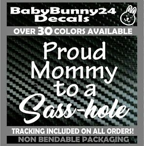 proud mommy to a sasshole truck sticker vinyl funny car decal family kids
