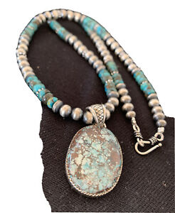 Mens-Navajo-Pearls-Sterling-Silver-Blue-SpiderWeb-Turquoise-Necklace-Pendant-924