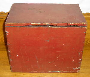 Antique-Red-Painted-Small-Wood-Box-Chest-14-3-4-034-x-12-034-x-9-3-4-034
