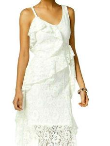 Details About Taylor Womens White Asymmetrical Hem Lace Ruffled Peplum Midi Dress Size 10 118