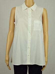 Alfani-Womens-White-Sleeveless-Pleat-High-Low-Collar-Button-Down-Shirt-Top-8-10