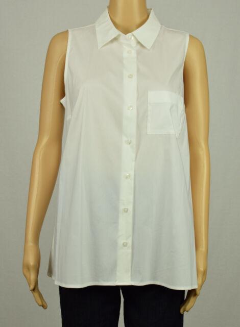 228f93d7cb051f Alfani Womens White Sleeveless Pleat High-Low Collar Button Down Shirt Top  8 10