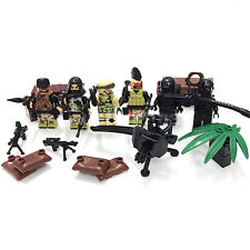 CUSTOM Military Army Soldiers Barrier Gun Battle 6 Minifigures & Lego Bricks