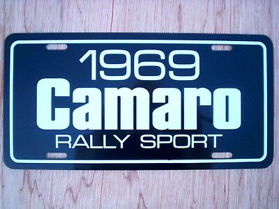 Red 1969 Chevrolet Camaro RS SS license plate car tag 69 super sport rally