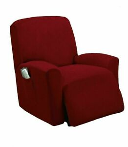 Fancy-Linen-Sure-Fit-Stretch-Sterling-Recliner-Slipcover-Solid-Burgundy-New