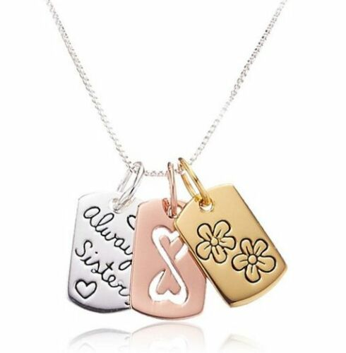 """3 Colored Gold Silver Rose gold /""""Always Sisters/"""" Flowers /& Infinity necklace USA"""