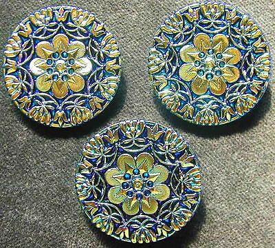 3 Czech Glass IRIDESCENT LACY Buttons #A334 - RARE ANTIQUE RELIEF!!! - LARGE