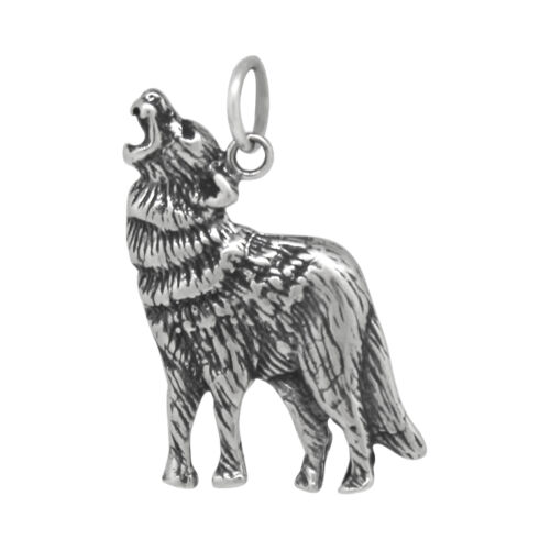 Howling Wolf Bijoux argent sterling .925 Pendentif Charme oxydé