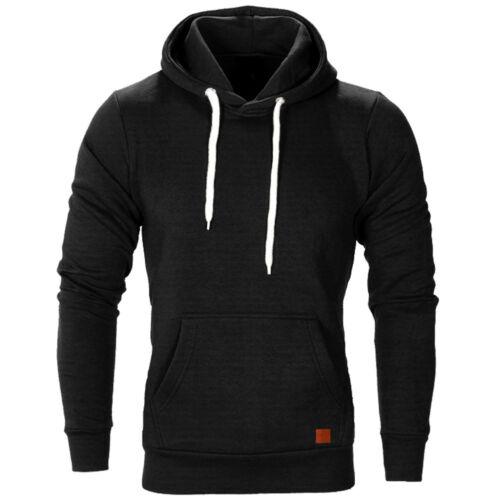 Mens Hoodie Pullover Fleece Lined Sweatshirt Warm Winter Hooded Coat Plain Tops