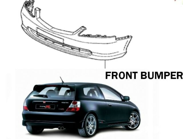 genuine honda civic ep3 facelift front bumper painted nighthawk black b92p