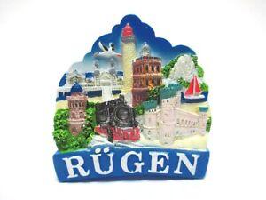 Ruegen-Ostsee-Magnet-Leuchtturm-Moewe-Poly-Glanzlack-Souvenir-Germany