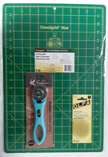 "Omnigrid Cutting Mat 12/""x18/"" Set EverSewn Rotary Cutter/&OLFA Rotary Blades 45mm"