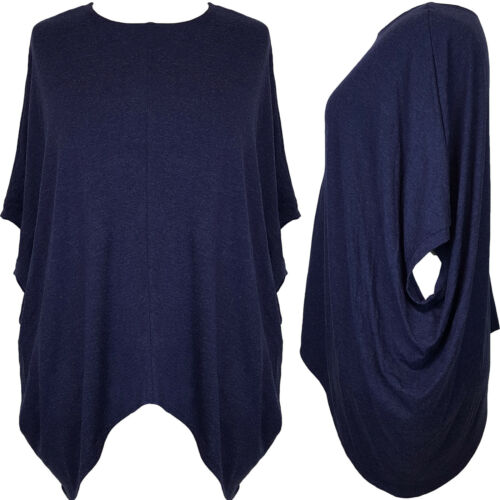 Italian Style Lagenlook Tunic Jumper Top Poncho Batwing T-shirt Plus Size 16 30