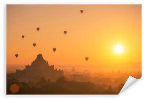 Postereck-3078-Poster-amp-Leinwand-Myanmar-Sonne-Asien-Heissluftballon-Tempel