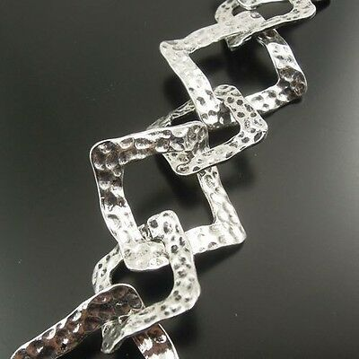 30967 Antiqued Silver Tone Square Jewelry Chain 30*30 Bracelet Charm Findings 1M
