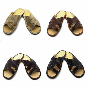 Mens-Leather-Slippers-Shoes-Sandals-Flip-Flops-Brown-Size-6-12