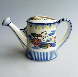Ceramic-watering-can-with-swan-and-water-lily-design-vintage-made-in-Japan