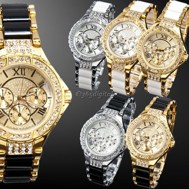 Ladies Fashion Womens Round Bracelet Gold Silver Designer Style Crystal Watch