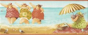 Wallpaper-Border-Designer-Whimsical-Ladies-at-the-Beach-with-Coral-Trim