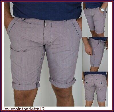 Bermuda Pantaloni Corti Shorts Pantaloncini Da Uomo Rossa Slim A Quadri 44 54 56