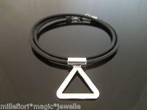 3-Mm-cordon-de-cuero-Negro-Collar-Con-triangulo-diapositiva-encanto-colgante-14-16-18-20-034