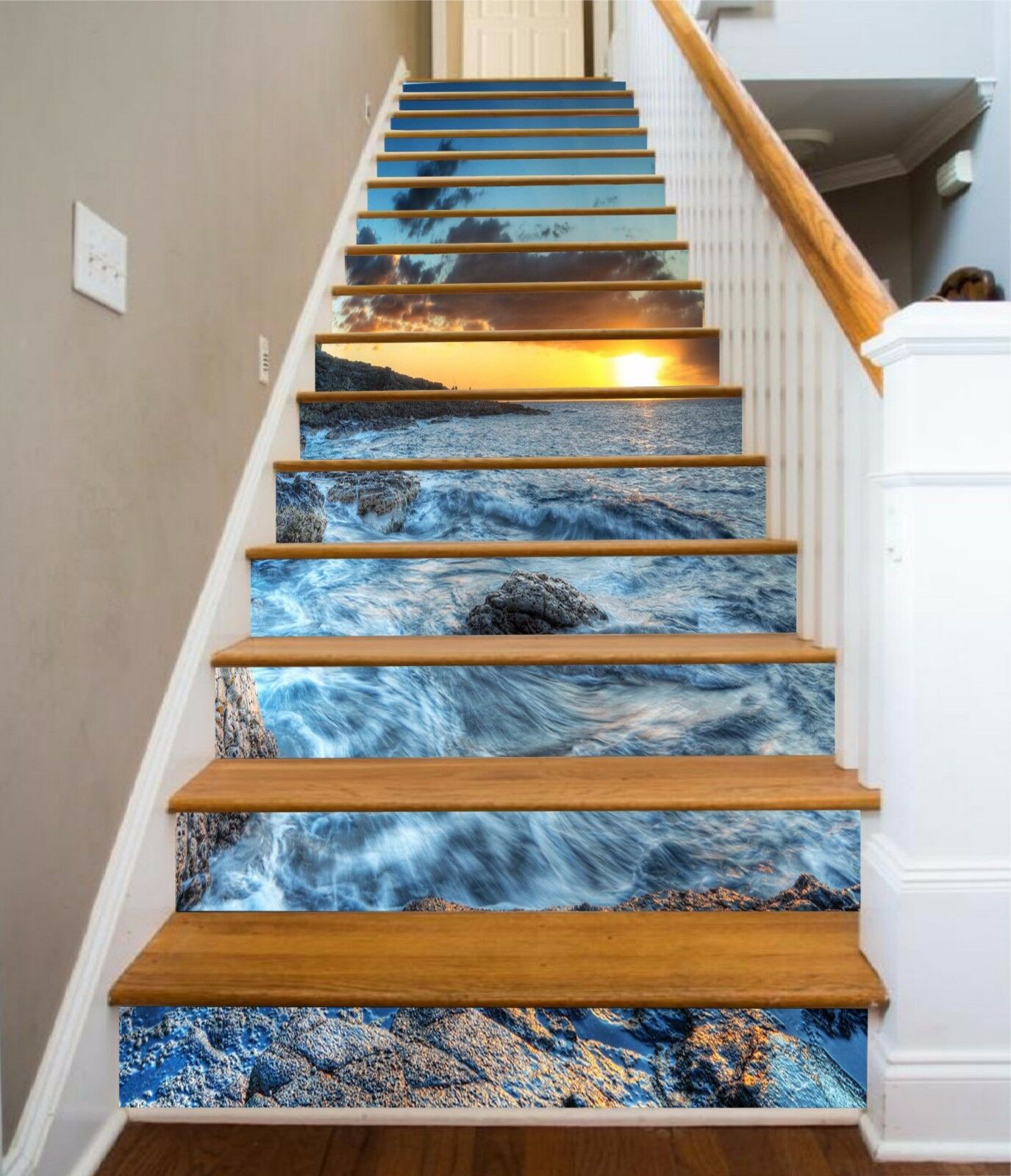 3D Coast Sunset 23 Stairs Risers Decoration Photo Mural Vinyl Decal Wallpaper US