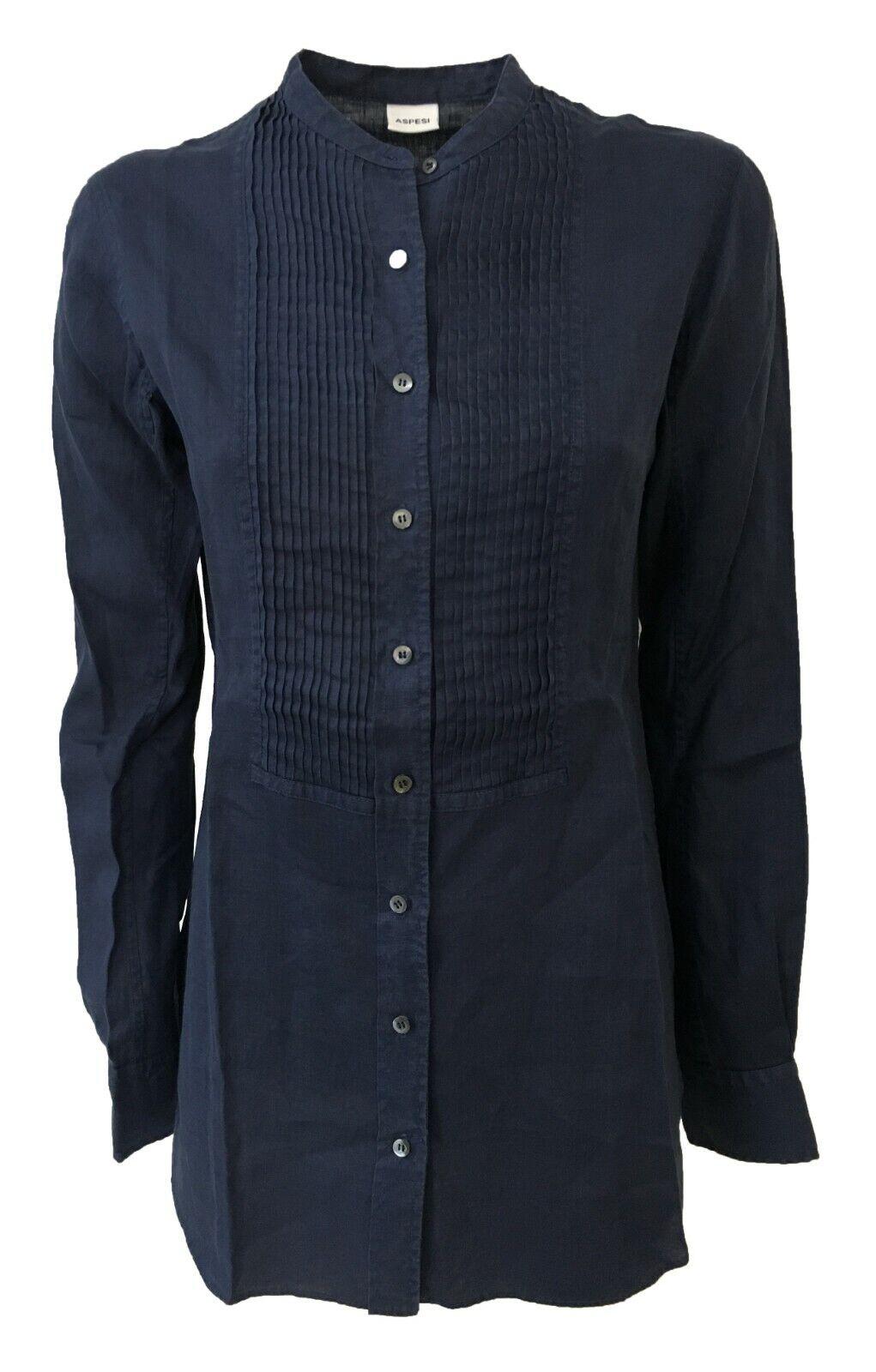 Damenhemd Blau Aspesi Modell H H713 C195 in 100% Leinen