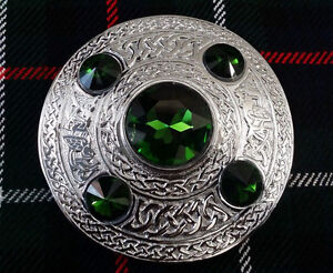 HS-Scottish-Kilt-Fly-Plaid-Brooch-Green-5-Stone-4-034-Celtic-Ladies-Brooches-Chrome