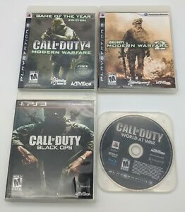 Call-of-Duty-Lot-PS3-4-Games-Modern-Warfare-1-2-Black-Ops-World-At-War-TESTED