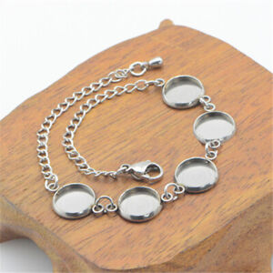 Details about Bracelet Cabochon Cameo Base Stainless Steel Blank Settings  DIY Jewelry Making