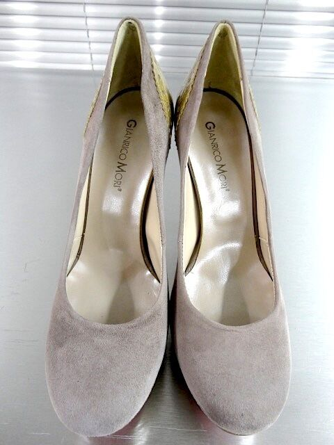 MORI MADE ITALY SHOES PLATFORM HEELS PUMPS SCHUHE SHOES ITALY LEATHER GREY GRIGIO TAUPE 43 fb3591
