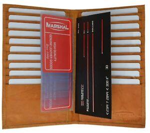 Genuine Leather Slim Credit Card Holder Checkbook Secretary Bifold Wallet Tan