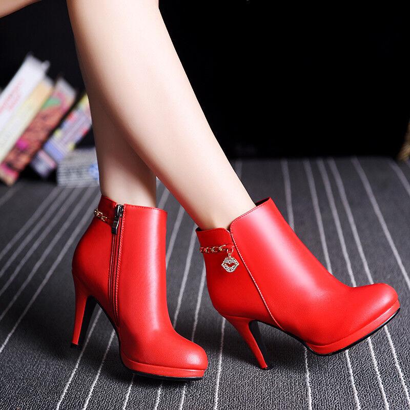 Spitz Damen Schuhe Stiefeletten Ankle Boots Pumps Kunstleder Stiletto Gr:33-41