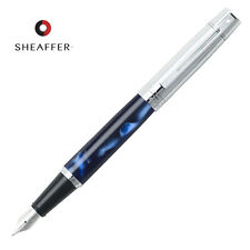 Sheaffer 300 Fountain Pen, Blue Marble, Chrome Trim, Medium Nib