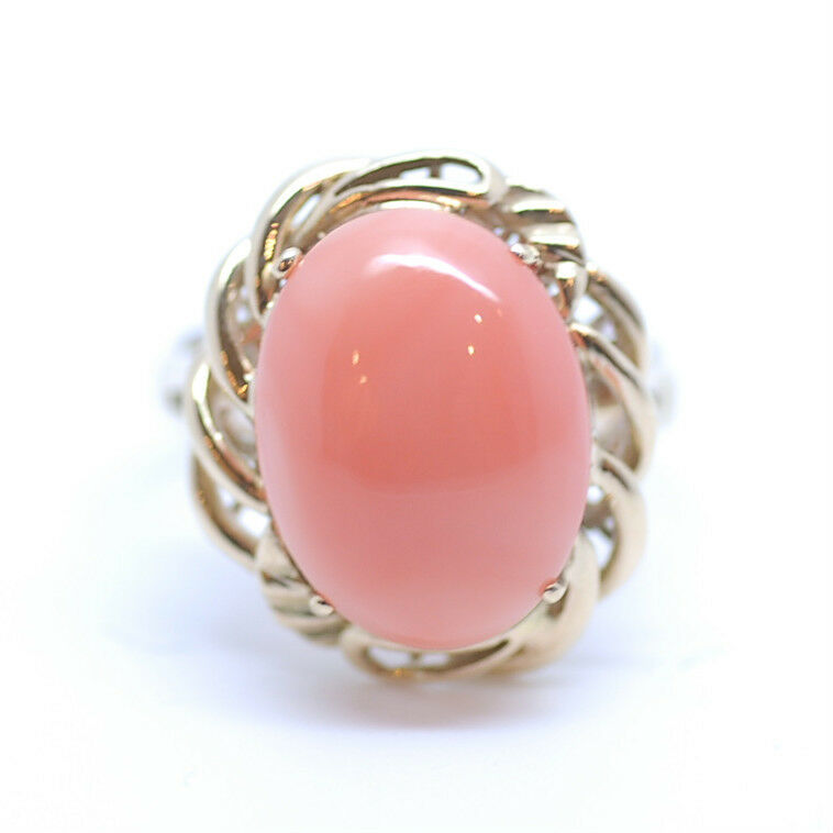 Genuine Natural Hawaiian Oval Cabochon Pink Coral Ring 14k Yellow gold Ring