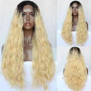 Fashion-Women-Synthetic-Hair-Lace-Front-Wig-Ombre-Blonde-Curly-Wavy-Full-Wigs-UK