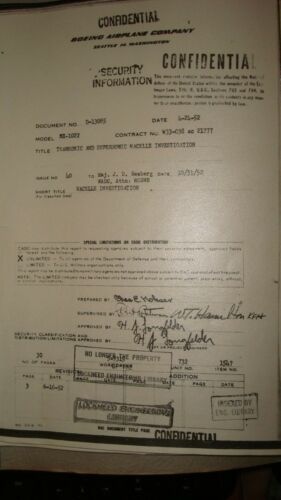 """SUPER RARE"" BOEING MODEL MX1022 PROJECT REPORT DATED 1952"