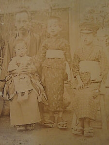 ANTIQUE-IMPERIAL-JAPAN-CDV-1860-70-039-S-FATHER-WIDOW-SONS-UNUSUAL-HAT-SHOES-PHOTO