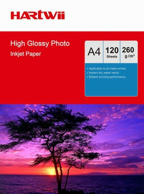 Hartwii  120 Sheets A4 260Gsm High Glossy Photo Paper Inkjet Paper Print 260G UK